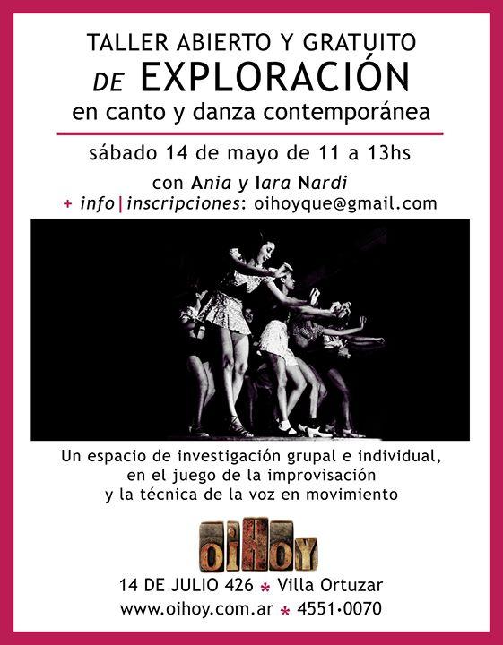 JORNADA GRATUITA Canto + Danza Contempo! 13 - OiHoy Casa Abierta